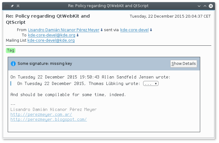 Encrypted and signed e-mail is supported, with status given in plain English